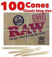 Raw Classic King Size Cone AUTHENTIC pre Rolled Cone With Filter  (100 Packs)