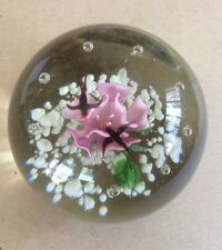 Glass paperweight water lily frog birds