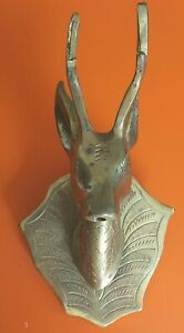 Vintage Antique Marrocan Brass Deer Head Fountain Water Spout Pond Metal Stag