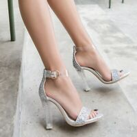 Sexy Women Ankle Strap High Heels Sequin Transparent Sandals Cocktail Prom Shoes