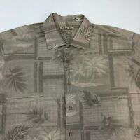 Batik Bay Button Up Shirt Men's 2XL XXL Short Sleeve Tan Gray Leaf Print Casual