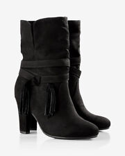 857b258424dc EXPRESS tassel slouch boot Black Faux Suede with tassles 8 VERY CUTE!