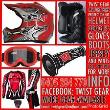 KIDS PEEWEE RED DIRT BIKE MX SPROCK HELMET GOGGLE GLOVES JERSEY PANTS BOOTS KIT