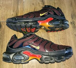 Mens Nike TN Air Max Plus Black Orange Trainers In Size 9.5 UK
