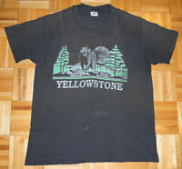 Yellowstone T Shirt Vintage 90s National Park Distress Faded Thrashed Size XL