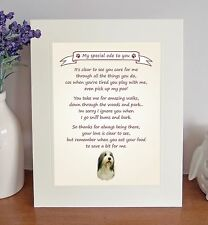 Bearded Collie Thank You FROM THE DOG Poem 8 x 10 Picture/10x8 Print Fun Gift