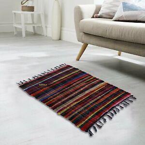 Chindi Rug 100%Natural Cotton Floor Handmade 2x3 Feet Carpet Reversible Rag Rug