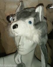 KOSTÜM WOLF KOPF MÜTZE Tiermütze Ohrwärmer Erwachsene Kinder Karneval Wolfsmütze