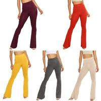 Solid Jersey Flares Wide Leg Pants  High Waist Trousers Stretchy & Comfy UK MADE