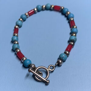 Vintage 925 Silver Turquoise Bracelet / 7 Inches Approx
