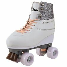 Roller Skates for Women Size 7.5 White Sparkle Teenagers Quad Derby rollerskates
