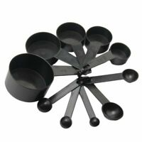 10Pcs Black Plastic Measuring Spoons Cups Set Tools For Baking Coffee Tea-%