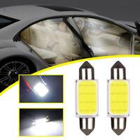 2x White COB Festoon LED Interior Lights Dome Reading Light Car Xenon Lamp Bulbs
