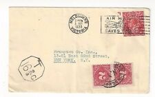 Melbourne Victoria Australia, Commercial to New York, 2d KGV, Postage Due