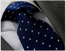 NAVY BLUE & WHITE POLKA DOT SILK TIE - ITALIAN DESIGNER Milano Exclusive