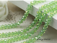 AB 100 (±3) PCS , 4 X 6 mm Apple Green Colors Crystal Faceted Abacus Loose Beads
