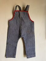 BEST Old Antique Doll Teddy Bear Blue White Striped Denim Overalls Red Trim AAFA