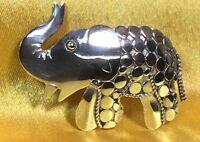 Vintage 925 Sterling Silver Elephant Brooch/pin Fine Jewelry