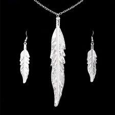 Silver Leaves Jewelry Set Feather Leaf Pendant Necklace Drop Dangle Earrings UK