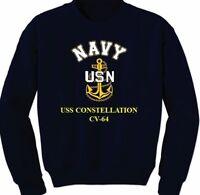 USS CONSTELLATION  CV-64  * NAVY VINYL & SILK SCREEN CREWNECK SWEATSHIRT