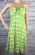 Anne Klein Dress Size 6 Lime Green White Polka Dot Sexy Silk Chiffon Summer
