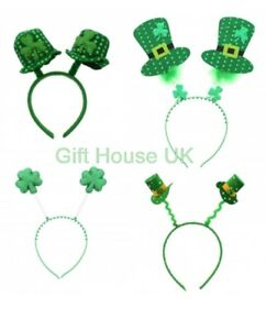 ST PATRICKS DAY IRELAND IRISH FANCY DRESS BOPPERS HEAD WIGGLY HEADBAND MINI HATS