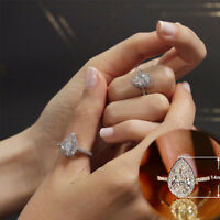 Rings Elegant Ring Women  White Sapphire Wedding Pear Cut Size 6-10 925 Silver