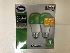2 GreenLightAVet GREEN Color LED 60 Watt Equivalent 9W A19 E26 2 FOR 1 Bulbs