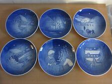 """Vintage Lot of 6 B&G Copenhagen Denmark 7.25"""" Christmas Plates 1972-1985"""