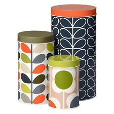 Orla Kiely Set of 3 Nesting Storage Canisters/Tins - Assorted - New & Boxed!
