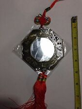 """HANGING CHINESE 8 SIDED BRASS BAGUA MIRROR 4"""" X 12"""" LONG FOR PROTECTION"""