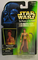 1997  Kenner Star Wars POTF 2 - Princess Leia Slave Green Card Sealed Figure MOC