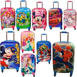 Children Kids Holiday Travel Hard Shell Suitcase Luggage Trolley Bags UK STOCK