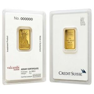 5 gram Credit Suisse Statue of Liberty Gold Bar .9999 Fine (In Assay)