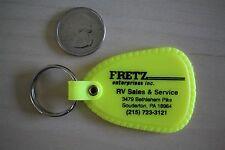 Fretz Enterprises RV Sales Service Souderton PA Yellow Keychain Key Ring #25930