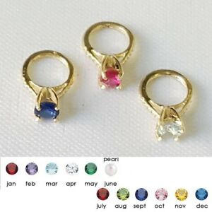 14K Yellow Gold Small Ring Pendant Charm w/ Birthstone Colored CZ Stone & Pearl