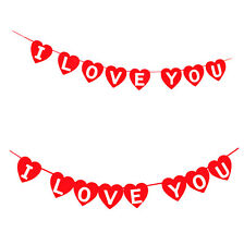 RED LOVE HEART BUNTING DECORATION VALENTINES DAY WEDDING PARTY BANNER GARLAND