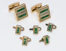 Vintage Alan Adler 18K Gold Emerald Cufflinks & Stud Set