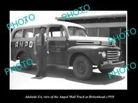 OLD LARGE HISTORIC PHOTO OF ADELAIDE SA, THE AMPOL OIL Co MAIL TRUCK c1950