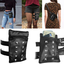 Black Leather Studded Motorcycle Black Fancy Pack Thigh Leather Waist Belt Bags