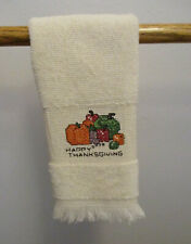 """Happy Thanksgiving Ecru Towel 10x18"""" Hand Embroidered"""