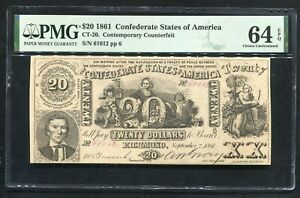CT-20 1861 $20 CSA CONFEDERATE STATES OF AMERICA CURRENCY NOTE PMG UNC-64EPQ
