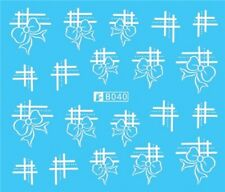 Nail Art Stickers Water Decals Transfers White Mono Bows Lines (B040)