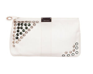 Jimmy Choo Women's Off White Leather Logo Plaque Studded Clutch
