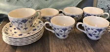 7 Churchill Finlandia Cups and 7 Saucers Swirl Edge Dinnerware China Blue White