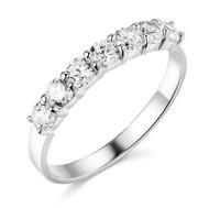 1.50 Ct Round Real 14k White Gold 7-Stone Anniversary Wedding Bridal Band Ring