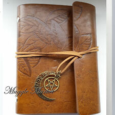 Brown journal moon pentagram star charm, witch magic brown leaf cover diary
