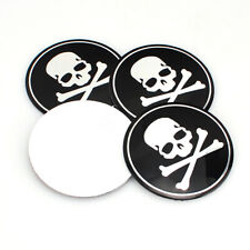 4x Black Car Wheel Emblem Hub Center Caps Cross Bone Skull Logo Sticker 56mm