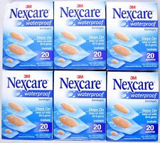 (6 Boxes) NEXCARE Waterproof Clear Bandages Assorted Sizes (Each Box 20 Count)