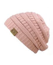 1b8687e9a31c5 Unisex Trendy Warm Chunky Soft Stretch Cable Knit Slouchy Beanie Skully